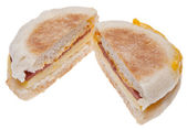 Sliced Bacon, Egg and Cheese Breakfast Sandwich — Stock Photo