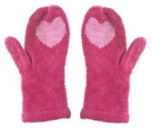 Pair of Mittens with Hearts — Stock Photo