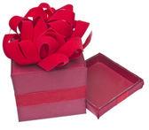 Canlı kırmızı tatil hediye — Stok fotoğraf