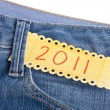 2011 in the Pocket of Denim Blue Jean Pants — Stock Photo