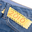 2010 in the Pocket of Denim Blue Jean Pants — Stock Photo