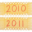 2010 and 2011 Handwriten Labels — Stock Photo