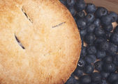 Blueberry Pie with Fresh Blueberries — Stock Photo