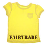 Yellow Tee Shirt with Fairtrade Message — Stock Photo