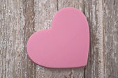 Pink Heart on Rustic Wood — Stock Photo