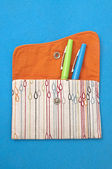 Pouch with Colred Pens — Stock Photo