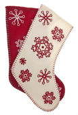 Red and White Snowflake Pattern Holiday Stockings — Stock Photo