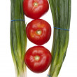 Fresh Green Onions with Tomatoes - Stock Photo