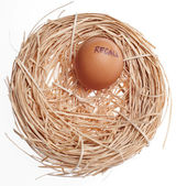 Recall Concept Egg in Nest — Stock Photo
