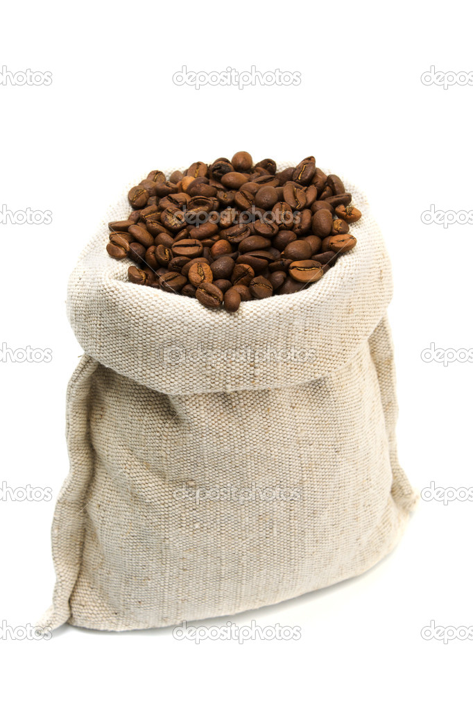 Coffee beans and burlap sack isolated on white — Stock Photo #3256506