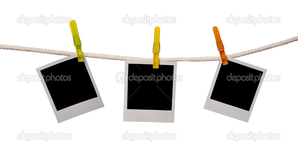 Polaroid cards on a rope  Stock Photo #2744978