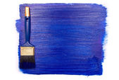 Professional brush with blue paint on a white ba — Stock Photo