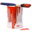 Can of red paint and professional brush — Stock Photo