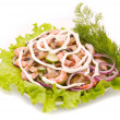 Salad from shrimps with field mushrooms — Stock Photo