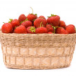 Garden Strawberries in wooden basket — Stock Photo