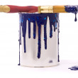 Can of blue paint and professional brush — Foto Stock