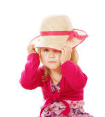 Llittle girl with lady's hat — Foto Stock