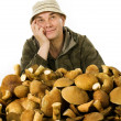 Habitual gatherer of mushrooms — Stock Photo