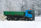 Truck on winter road — Stock Photo