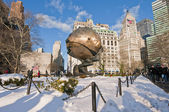 The Sphere and eternal flame memorial — Stock Photo
