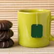 Tea and chocolate marshmallows — Stock Photo