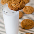 Royalty-Free Stock Photo: Milk and oat cookies
