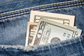 Money in a jeans pocket — Stock Photo