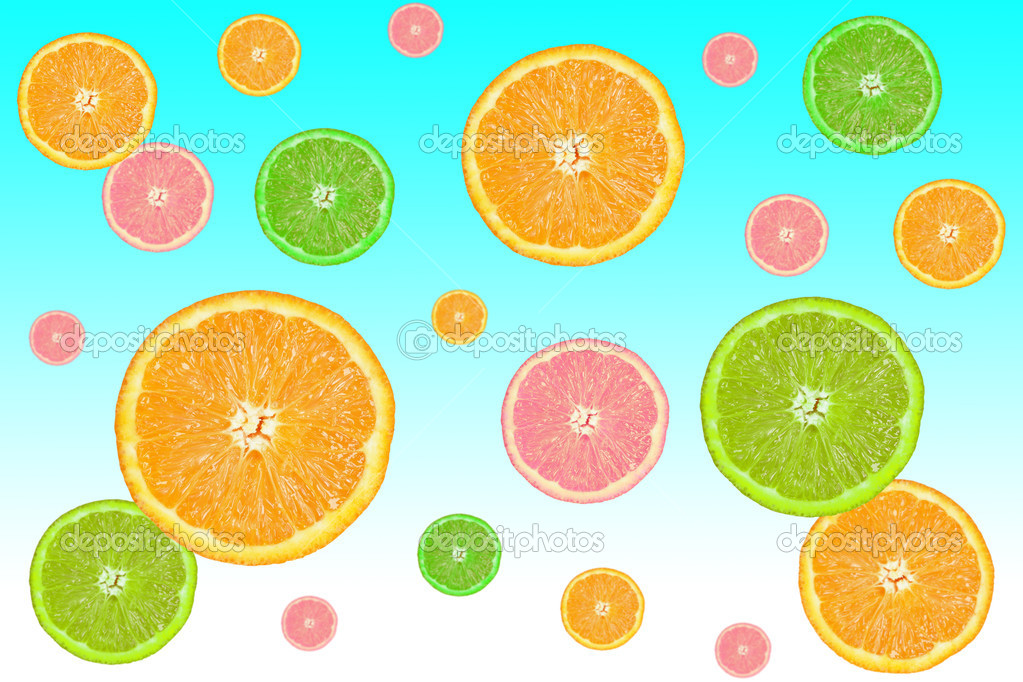 colorful slices of citrus fruits on a blue background — Stock Photo #3032162