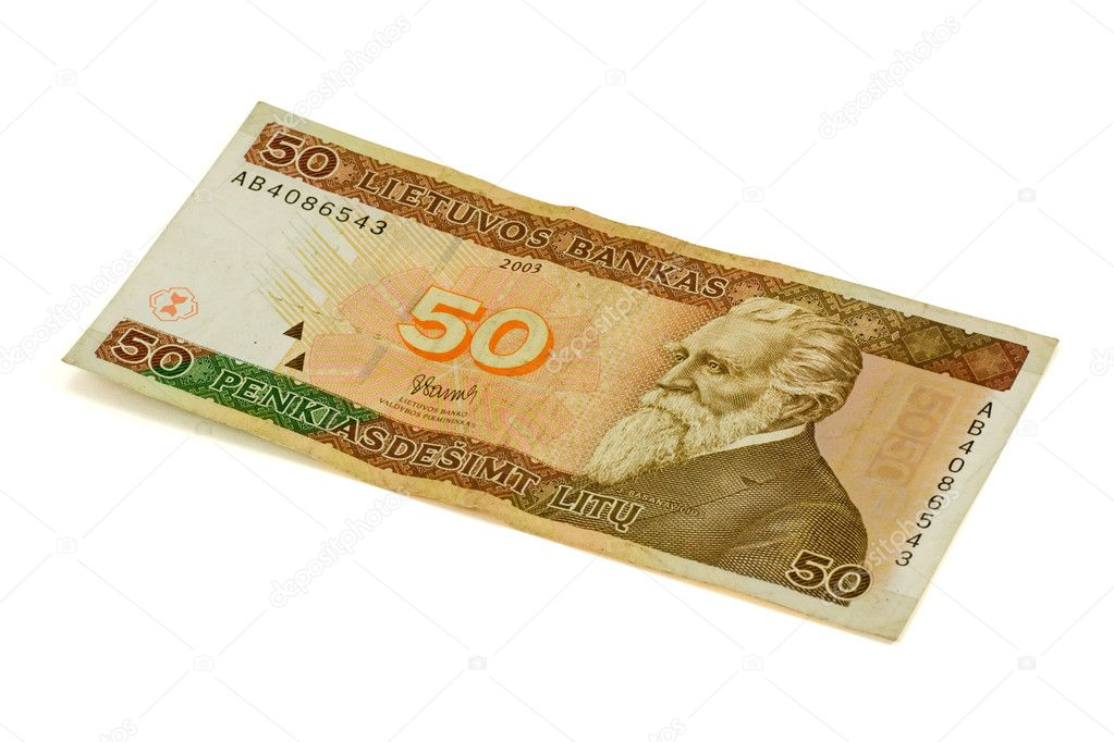 Fifty litas banknote , isolated on white background — Stock Photo #3435070