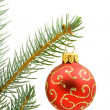 Stock Photo: Red Christmas tree ball