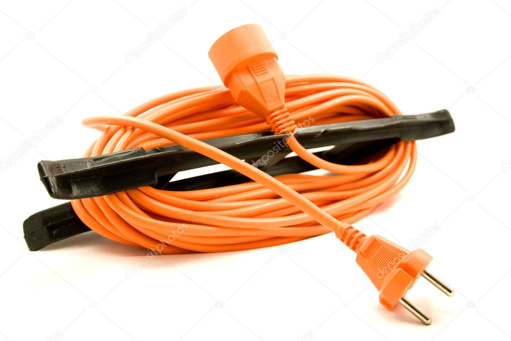 An orange extension cord on a white background  — Stock Photo #3621800