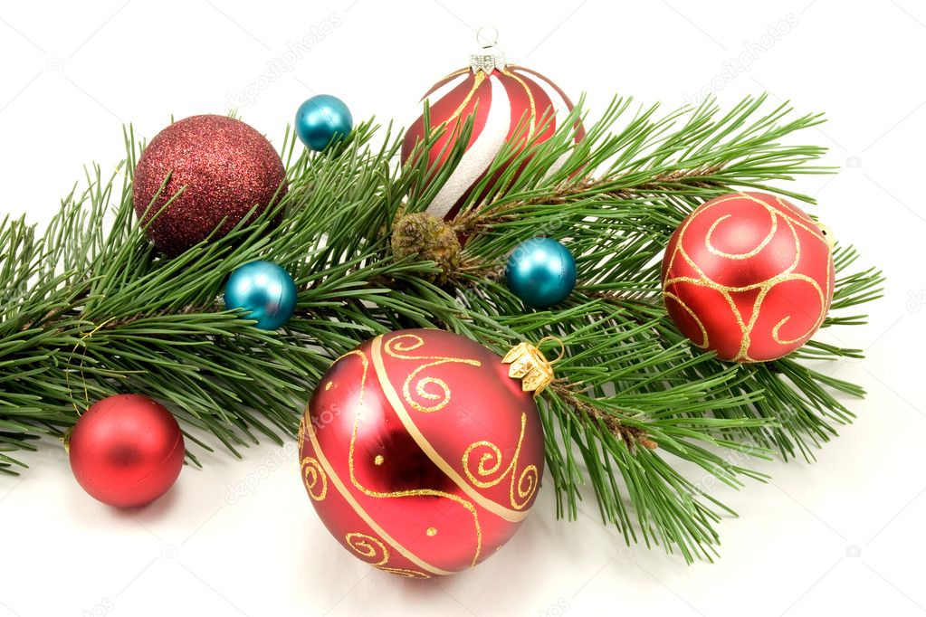 colorful christmas decoration on a white background — Stock Photo #3679679