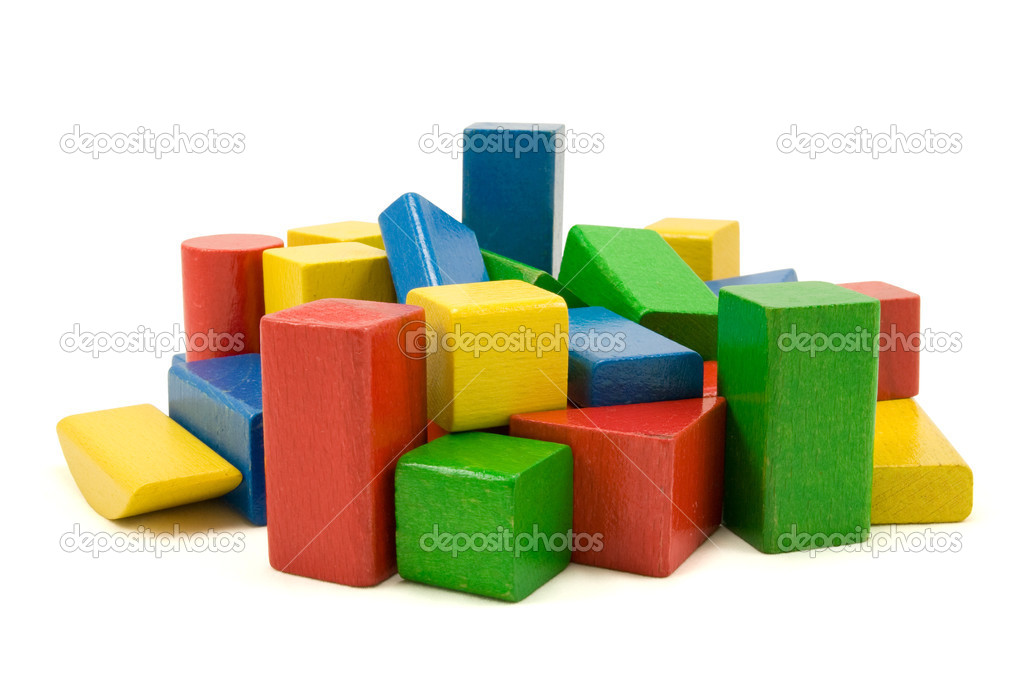 Wooden building blocks isolated on white background — Stock Photo #3679704