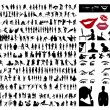 Collection of silhouettes of - Stok Vektör