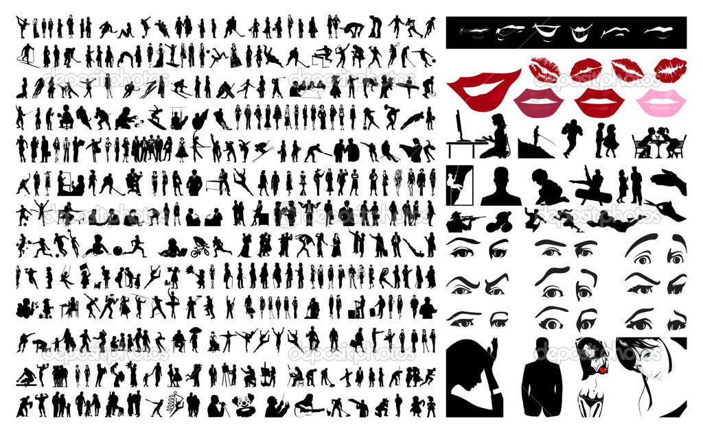 360 silhouettes of . A vector illustration — Vettoriali Stock  #2961494