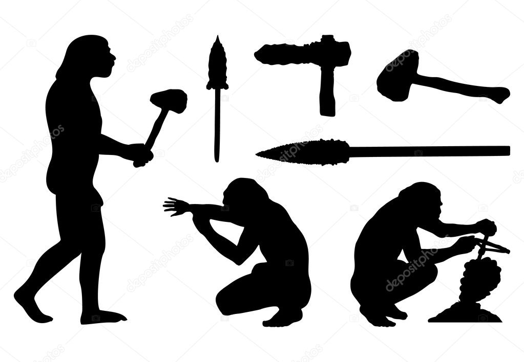 Silhouettes of ancient and tools. A vector illustration — Stock Vector #3044612