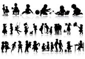 Silhouettes of children — Stock Vector