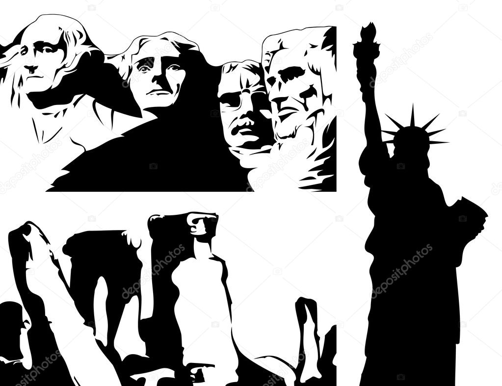 Silhouettes of monuments of black colour. A vector illustration  Stock Vector #3334091
