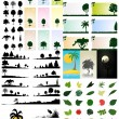 图库矢量图片: Collection of trees