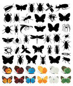 Silhouettes of insects2 — Stock Vector