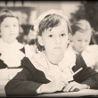 Old style photo from elementary age - Stock Photo