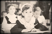 Old style photo from elementary age — Stockfoto