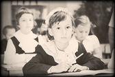 小学校時代からの古いスタイルの写真 — ストック写真