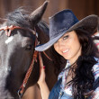 Cute cowgirl on ranch — Stock Photo