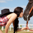 Cute cowgirl on ranch — Stock Photo #3648596