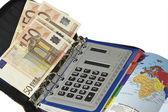 Cuaderno, dinero y la calculadora — Foto de Stock