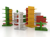Group of colored shop shelves — Stock Photo