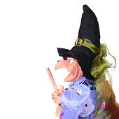Witch with broom — Stock Photo