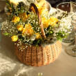 Festive table setting in yellow — Foto de Stock
