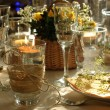 Table setting with candles — Stock Photo
